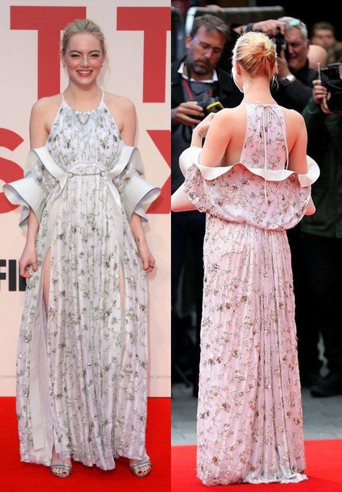 Emma Stone rayonne en robe florale